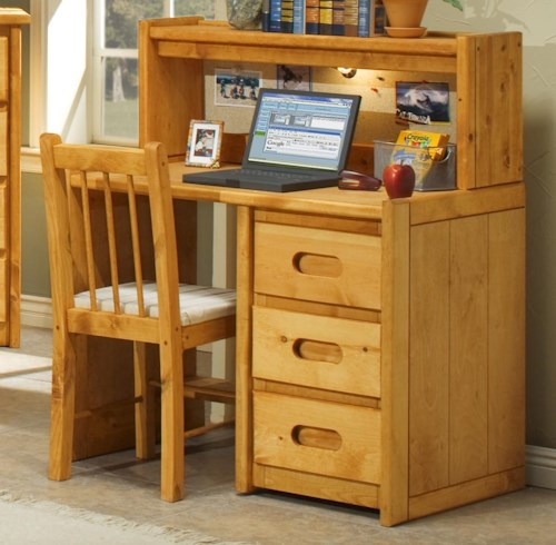 Trendwood Bunkhouse Single Pedestal Student Desk with Corral Hutch