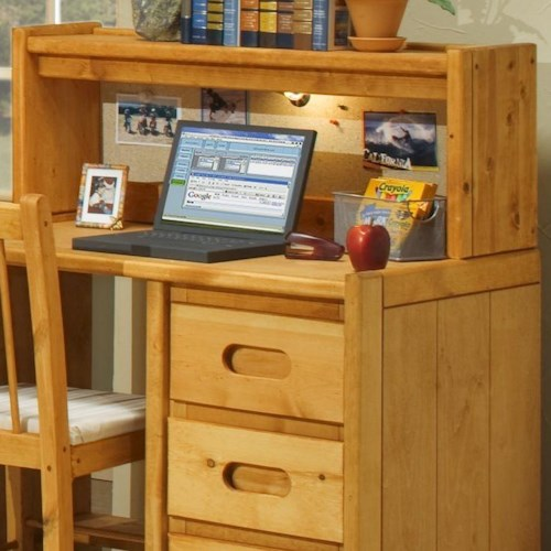 Trendwood Bunkhouse Student Desk Hutch with Corkboard and Light