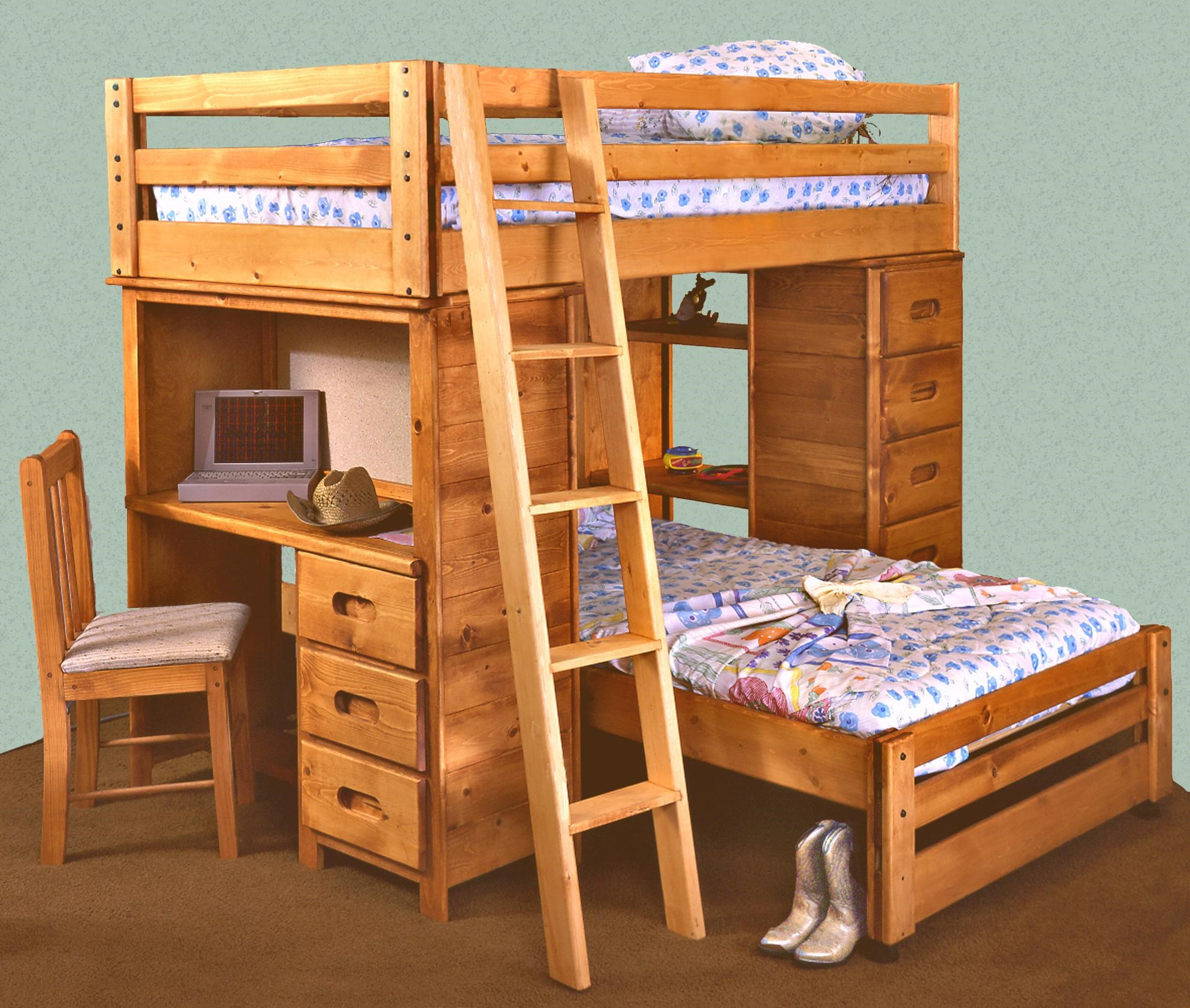Picture of: Trendwood Bunkhouse Twin Twin Bronco Loft Bed With Built In Desk Conlin S Furniture Loft Beds