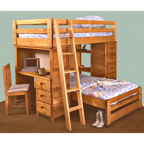 Trendwood bunkhouse twin twin bronco loft bed with built for Furniture 123 bunk beds