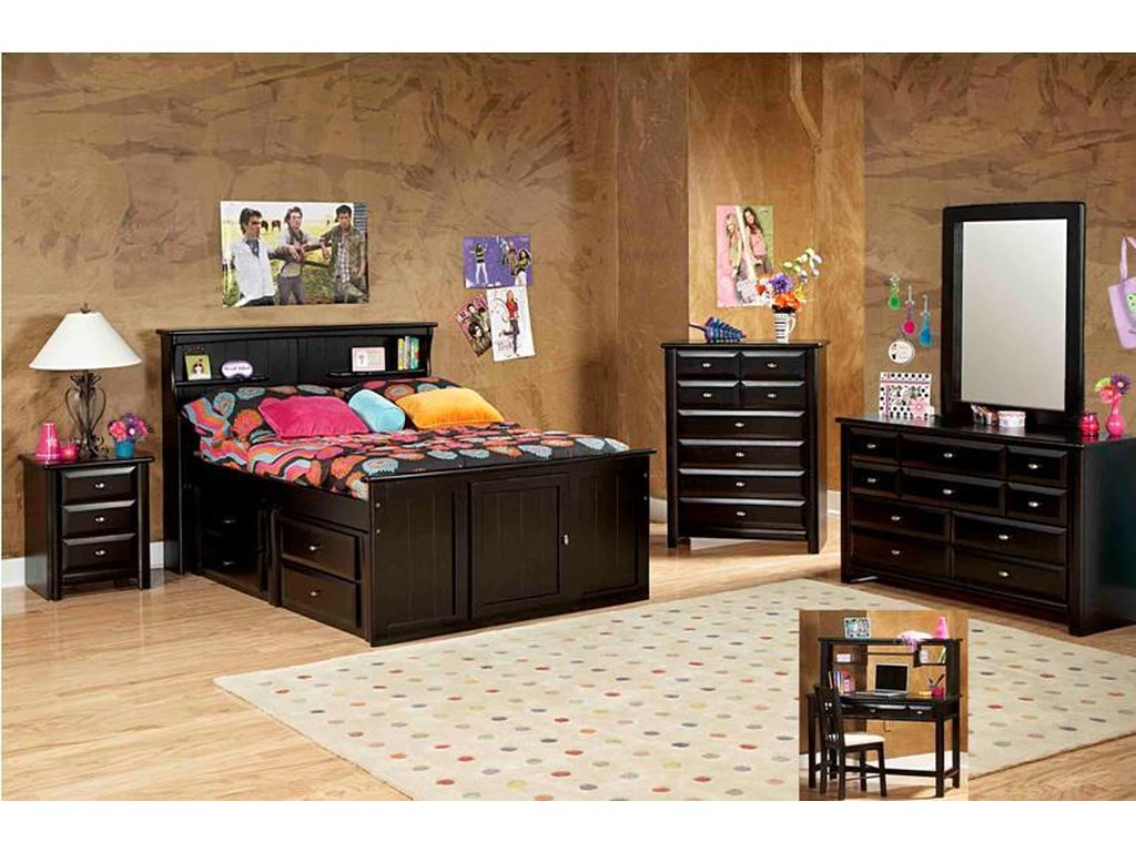 Trendwood Laguna Full Bookcase Bed with Footboard Storage