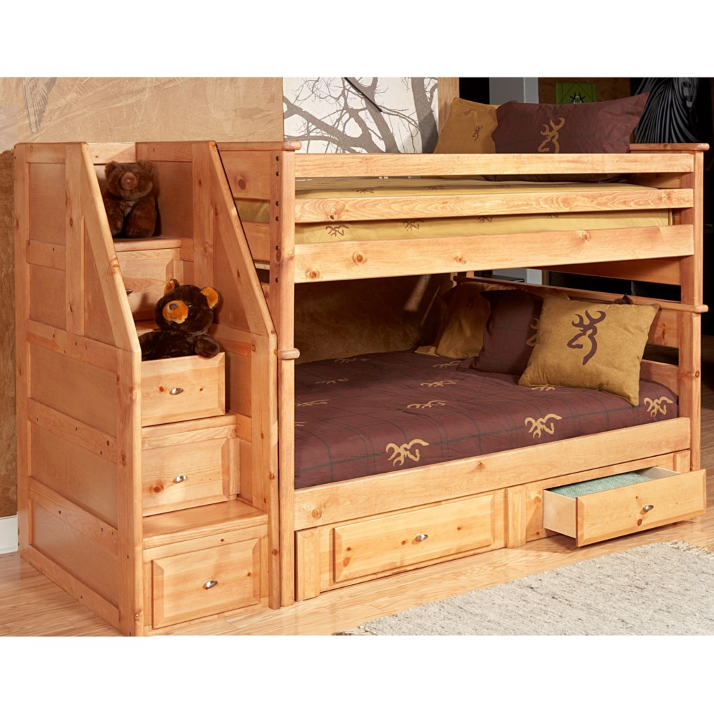 Trendwood Laguna Twin Twin Bunk Bed With Drawer Staircase And