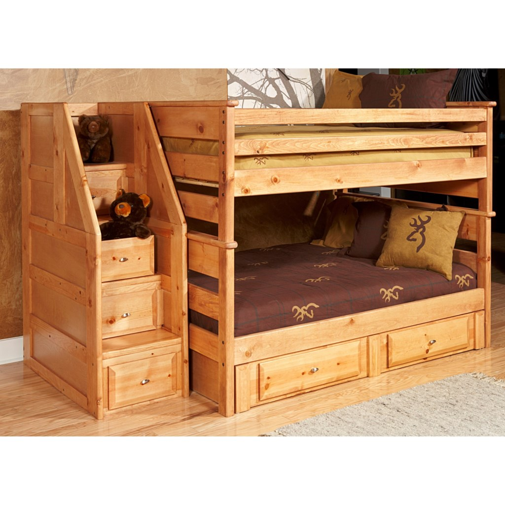 Trendwood Laguna Full Full Bunk Bed With Drawer Staircase And
