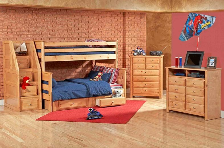 Staircase Chest Shown in Room Setting with Bunk Bed, Drawer Chest and Media Chest