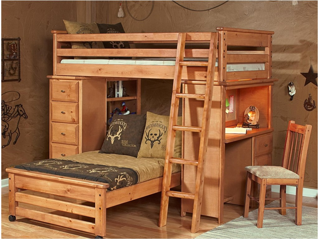 Laguna Loft Style Bunk Bed With Chest And Desk Ends By Trendwood