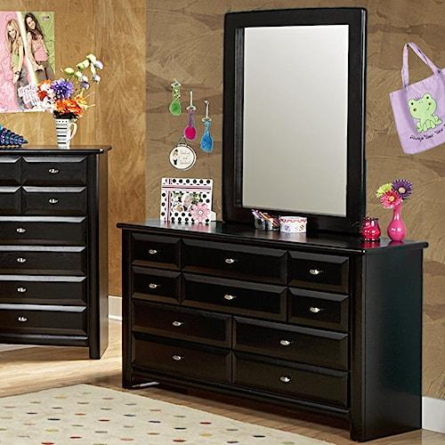 Trendwood Laguna  Nine Drawer Dresser and Mirror Set