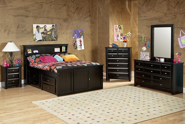 Nightstand Shown in Room Setting with Bookcase Bed, Drawer Chest, Dresser and Mirror
