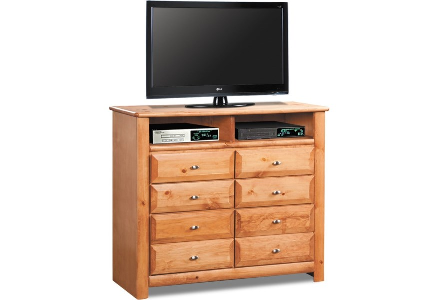 Laguna Media Chest with 2 Open Compartments and Eight Drawers by Trendwood  at Wilson\'s Furniture