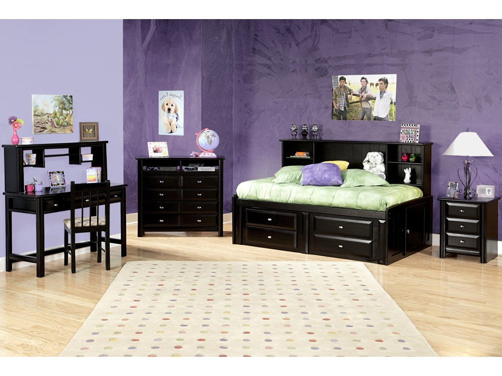 Shown in Room Setting with Chair, Media Chest, Bed and Nighstand
