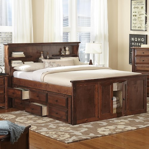 Trendwood Laguna Queen Book Case Bed w/ Footboard Storage