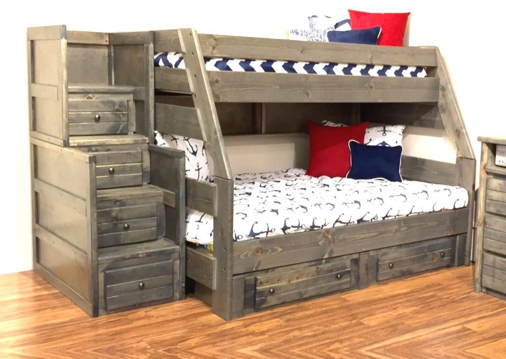 Picture of: Trendwood Sedona 4720 21 4795tu 4795fu 4466 4453 Twin Top Full Bottom Bunk Bed With Trundle Bed And Staircase Chest Sam Levitz Furniture Bunk Beds