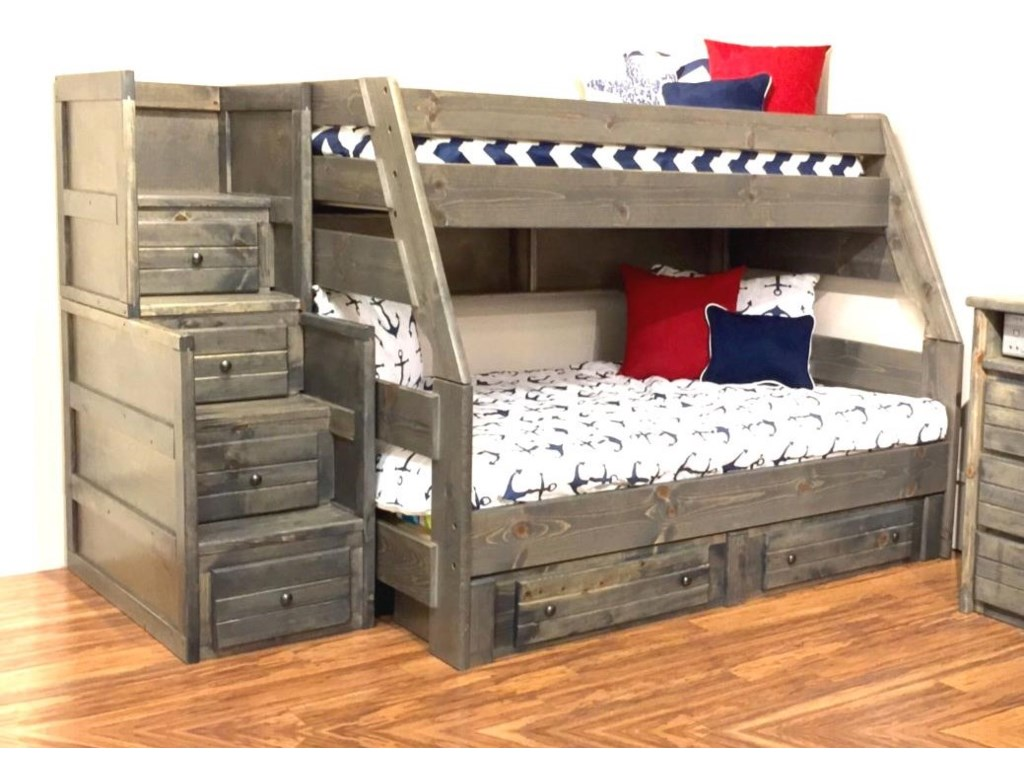 Trendwood Sedona 4720 21 4795tu 4795fu 4466 4453 Twin Top Full Bottom Bunk Bed With Trundle Bed And Staircase Chest Sam Levitz Furniture Bunk Beds
