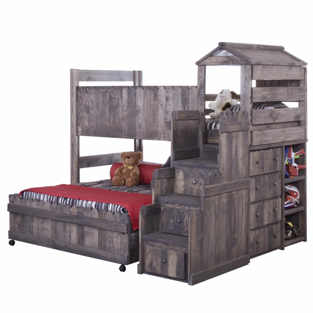 Trendwood The Fort Twin Full Complete Loft Fort Bed With Stairway