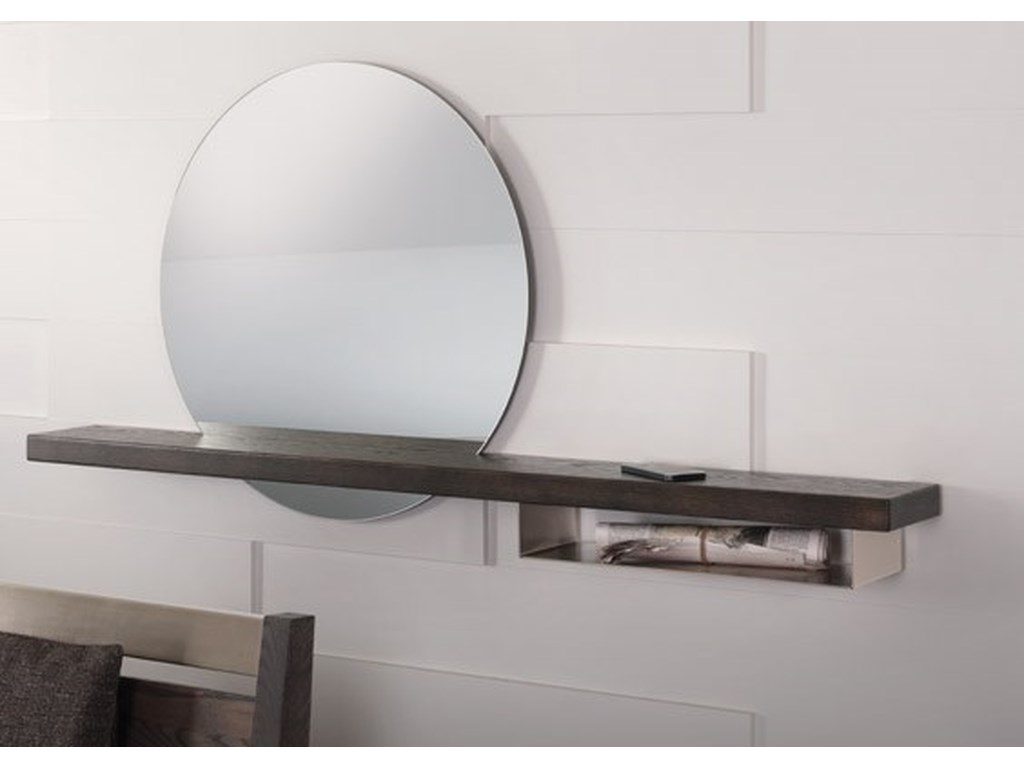 Trica Accent PiecesRound Mirror with Shelf