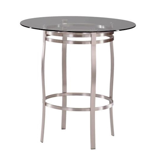 Trica Contemporary Tables Bourbon Round Pedstal Table with Glass Insert