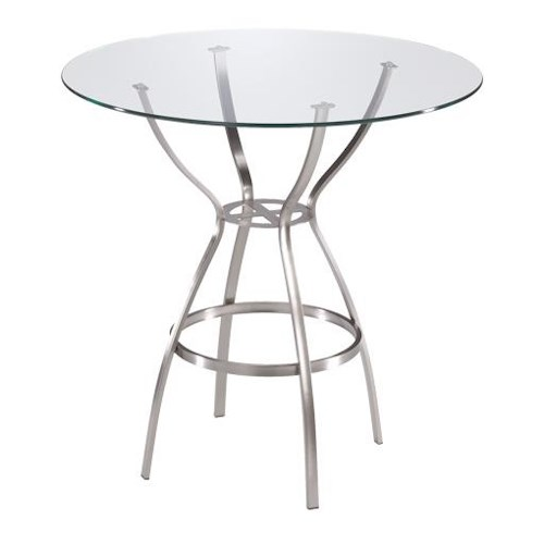 Trica Contemporary Tables Rome Round Pedstal Table with Glass Top
