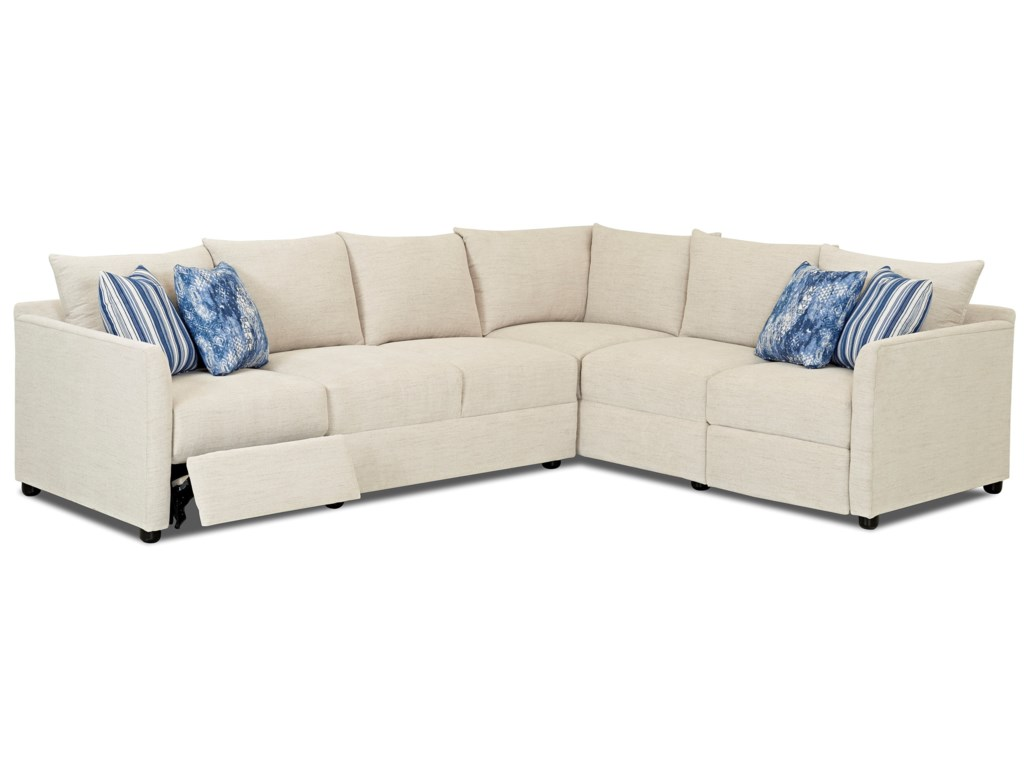 Klaussner Atlanta2 Pc Power Hybrid Reclining Sectional Sofa