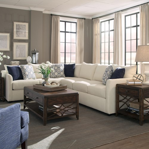 Trisha Yearwood Home Atlanta Transitional Sectional Sofa with Tuxedo Arms