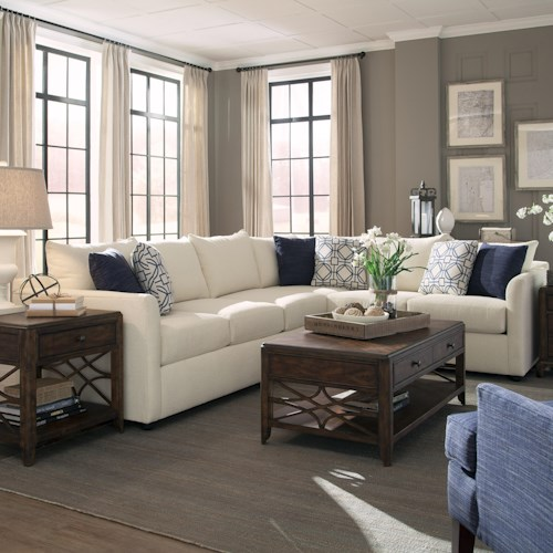 Trisha Yearwood Home Atlanta Transitional Sectional Sofa with Tuxedo Arms
