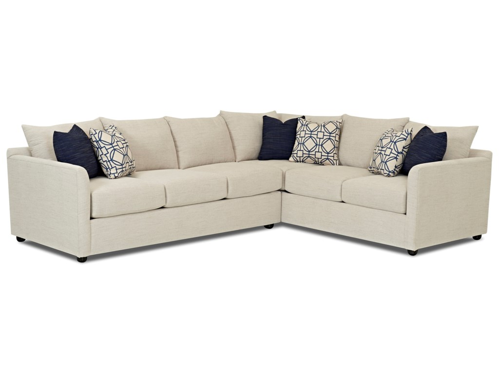 Atlanta Transitional Sectional Sofa with Tuxedo Arms by Trisha Yearwood  Home Collection by Klaussner at Ruby Gordon Home