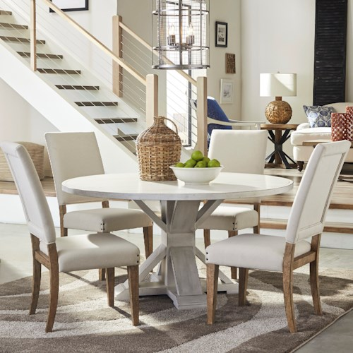 Trisha Yearwood Home Collection by Klaussner Coming Home Five Piece Dining Set with Get Together Table and Upholstered Chairs
