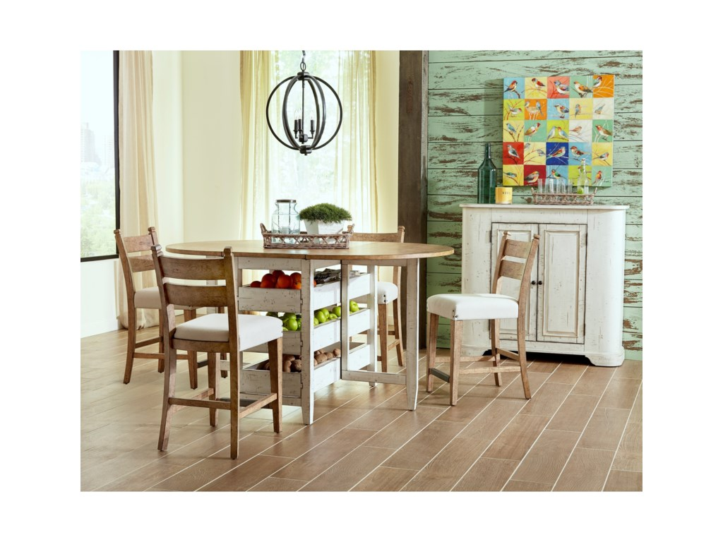 Trisha Yearwood Home Collection By Klaussner Coming Neighbors Gate Leg Dining Table With Drop Front Leaves And Pull Through Storage Drawers