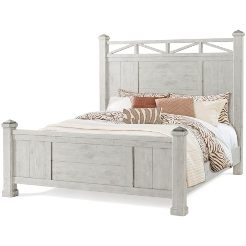 Trisha Yearwood Home Collection by Klaussner Coming Home Sweet Dreams Farmhouse King Post Bed with Metal Caps