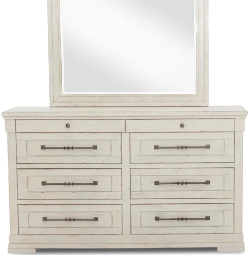 Trisha Yearwood Home Collection by Klaussner Coming Home Haven Eight Drawer Dresser with Jewelry Tray and Built-In Power Strip
