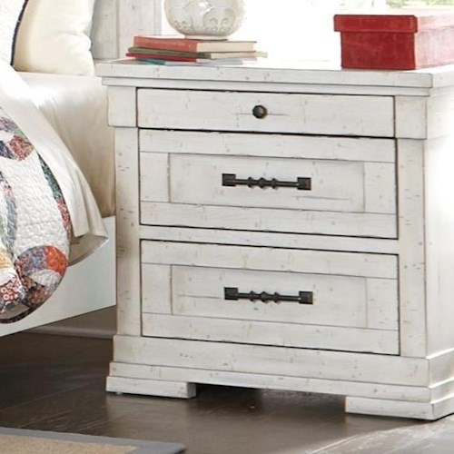 Trisha Yearwood Home Collection by Klaussner Coming Home Cozy Three Drawer Nightstand with Power Strip and Wire Management