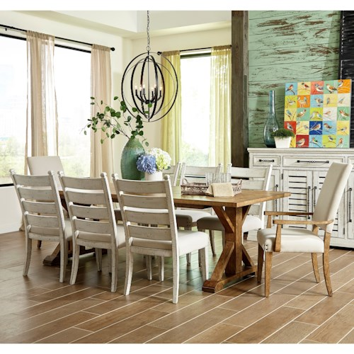Trisha Yearwood Home Collection by Klaussner Coming Home Nine Piece Dining Set with Homecoming Dining Table and Upholstered Host Chairs