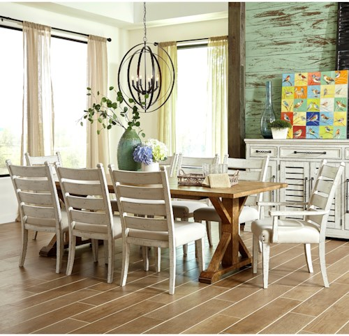 Trisha Yearwood Home Collection by Klaussner Coming Home Nine Piece Dining Set with Homecoming Dining Table and Contrasting Ladderback Chairs