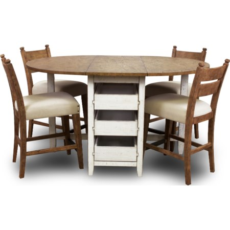 Dining Table & 4 Pub Height Chairs