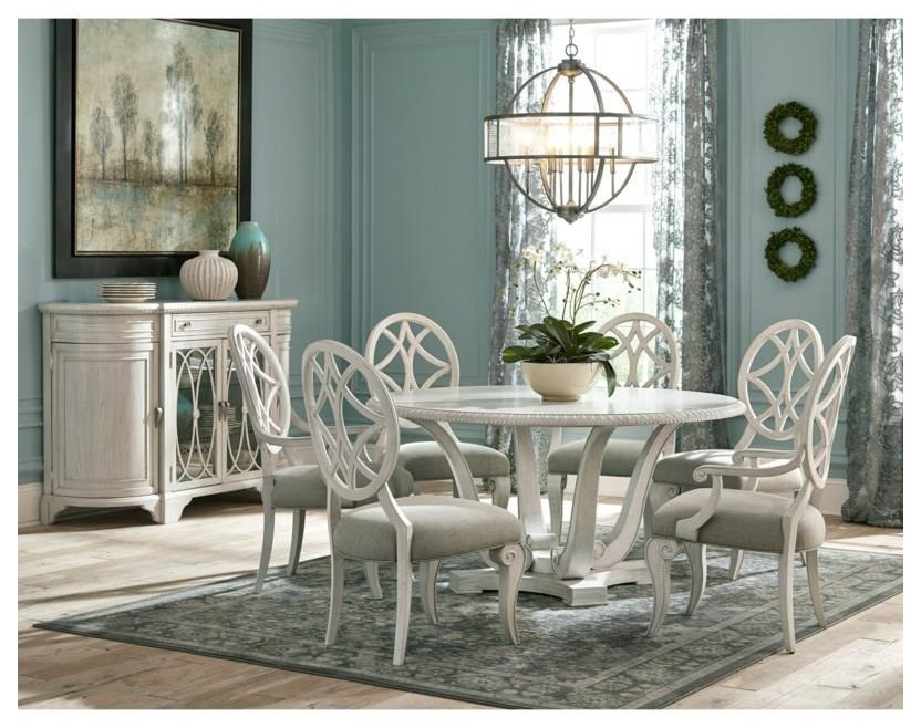 Trisha Yearwood Home Collection By Klaussner Jasper County 790 030tb 4x900 2x905 7 Piece Round Dining Room Table 4 Upholstered Side Chairs And 2 Upholstered Arm Chairs Set Sam Levitz Outlet Dining 7