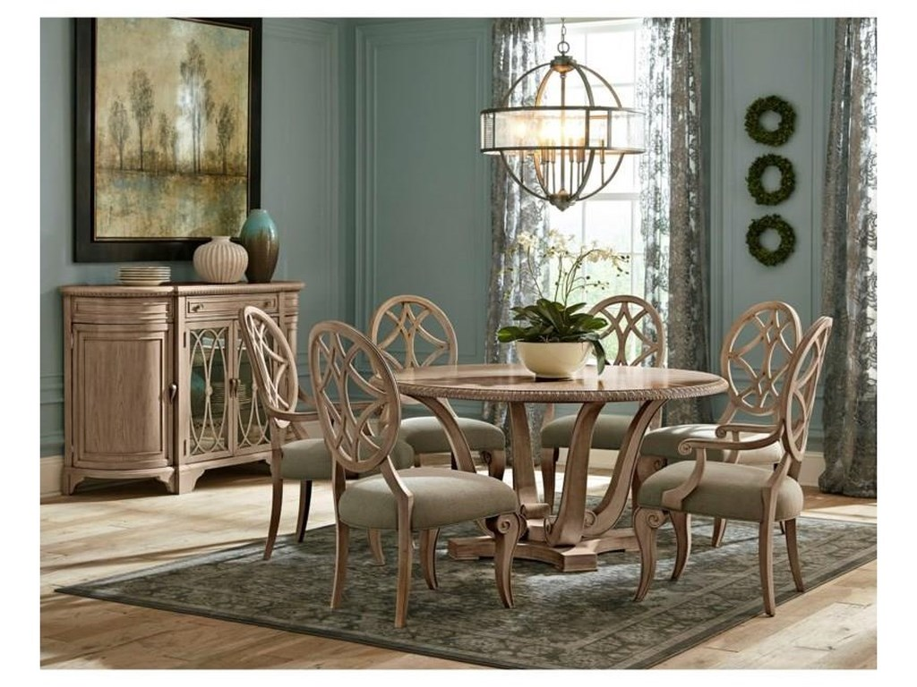 Trisha Yearwood Home Collection By Klaussner Jasper County 791 30tb 4x900 2x905 891 8 Piece Round Dining Room Table 4 Upholstered Side Chairs 2 Upholstered Arm Chairs And Server Set Sam Levitz Furniture Dining