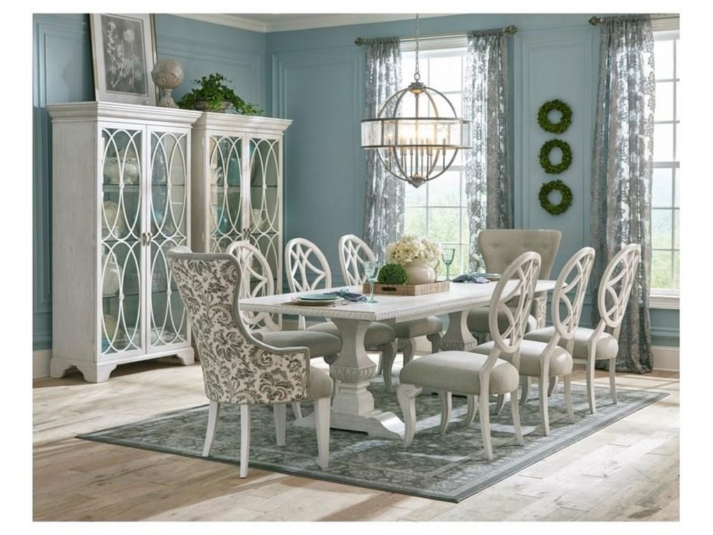 Trisha Yearwood Home Collection By Klaussner Jasper County 790 102tb 6x900 2x906 891 10 Piece Rectangular Dining Room Extension Table 6 Upholstered Side Chairs 2 Upholstered Host Chairs And Server Set Sam Levitz Furniture