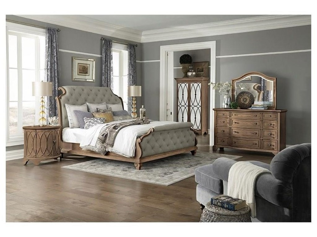 Trisha Yearwood Home Collection by Klaussner Jasper CountyQueen Upholstered Sleigh Bed Package