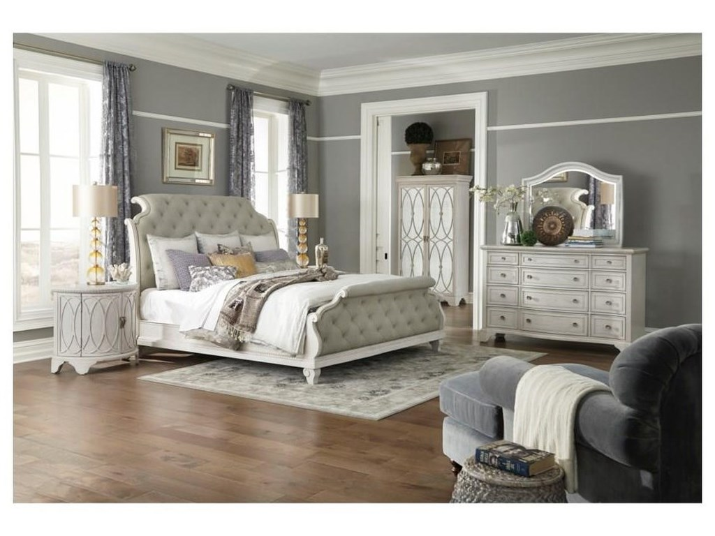Trisha Yearwood Home Collection by Klaussner Jasper CountyKing Upholstered Sleigh Bed Package