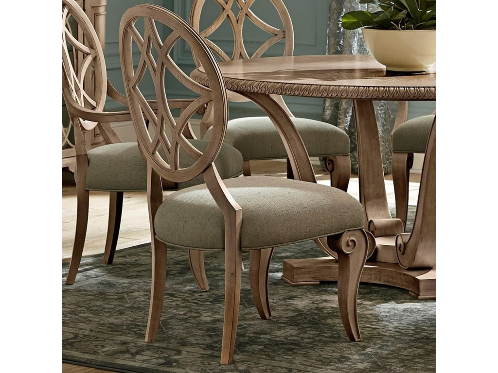 e8a7bbde797b Trisha Yearwood Home Collection by Klaussner Jasper County Relaxed Vintage  Lattice Back Dining Side Chair with Upholstered Seat
