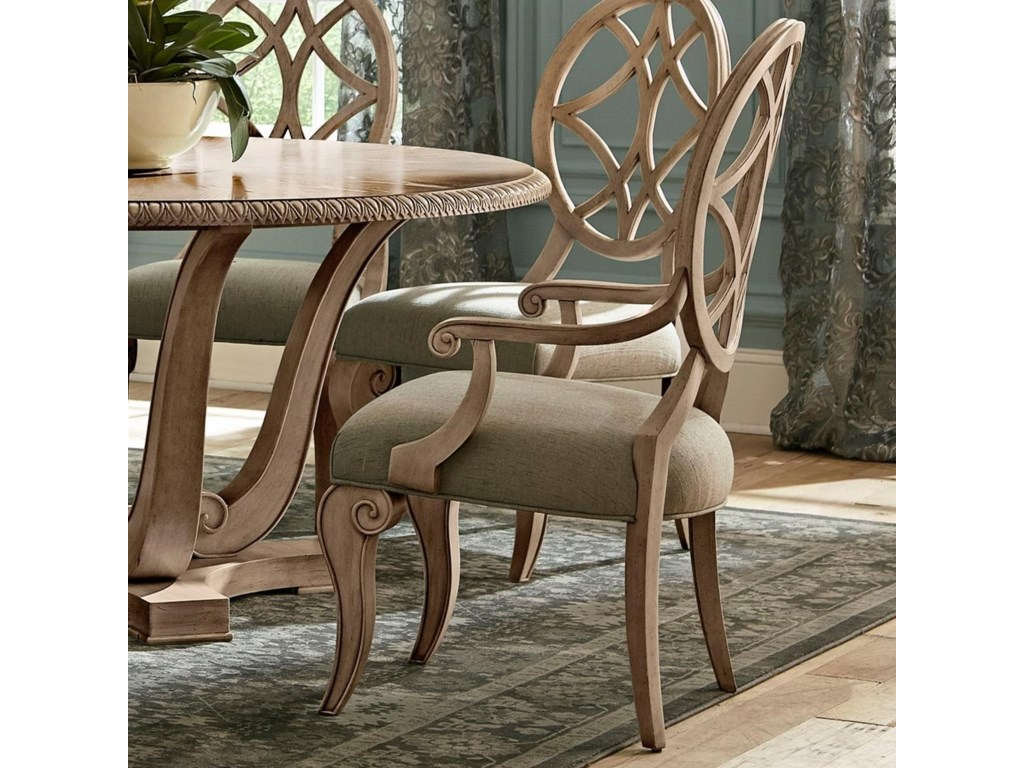 Jasper County Relaxed Vintage Lattice Back Dining Arm Chair with  Upholstered Seat by Trisha Yearwood Home Collection by Klaussner at Wayside  Furniture