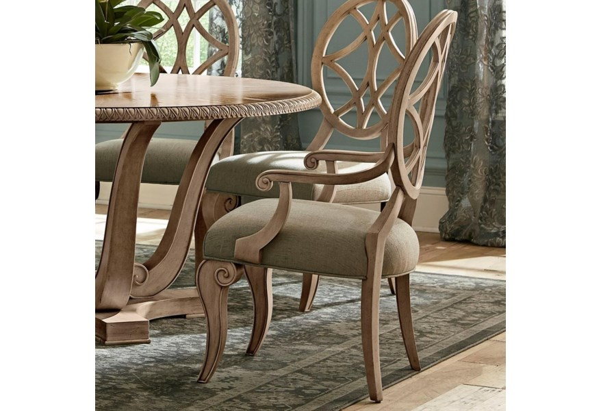 Jasper County Relaxed Vintage Lattice Back Dining Arm Chair with  Upholstered Seat by Trisha Yearwood Home Collection by Klaussner at Dunk &  Bright ...