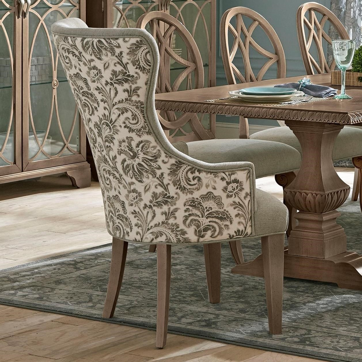 Picture of: Trisha Yearwood Home Collection By Klaussner Jasper County 791 906 Drc Vintage Dining Room Host Chair In Two Tone Fabric Sam Levitz Outlet Dining Arm Chairs