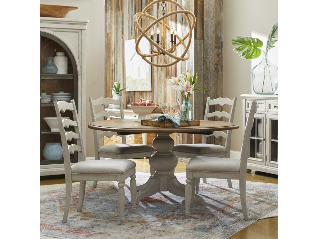 Trisha Yearwood Home Collection By Klaussner Nashville 5 Piece Dining Set With In The Round Table And Concord Ladderback Chairs Wayside Furniture Dining 5 Piece Sets