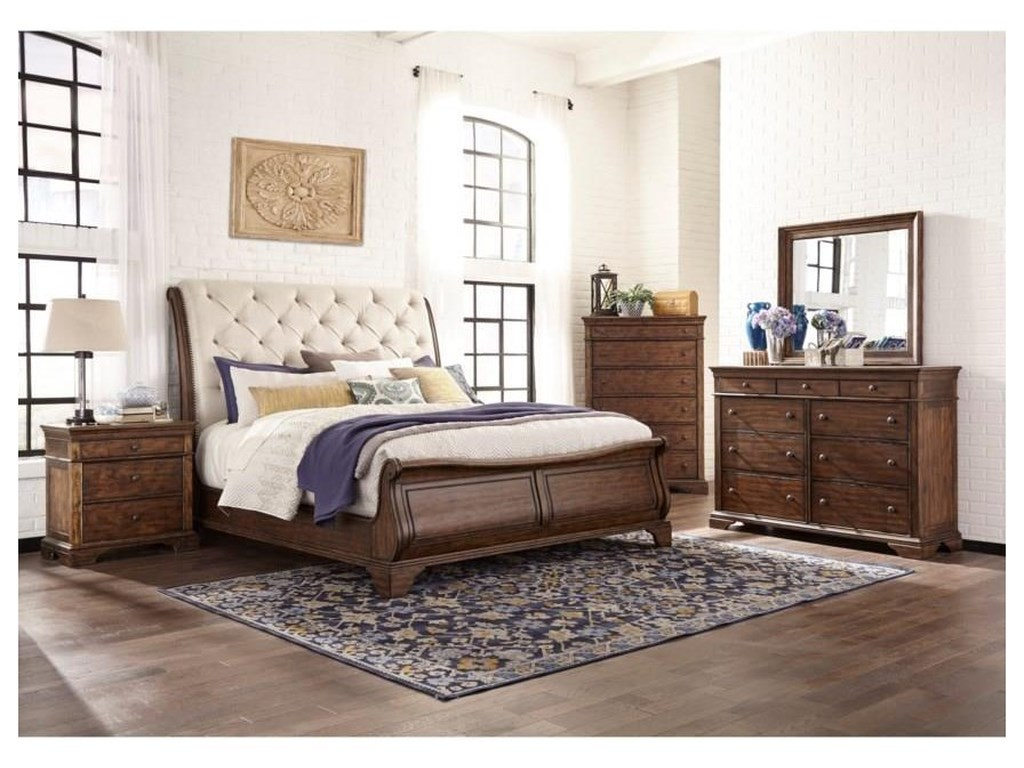 Trisha Yearwood Home Collection by Klaussner Trisha Yearwood HomeKing UPH Sleighl Bed Package
