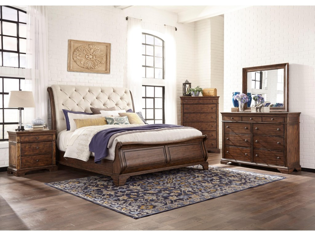 Trisha Yearwood Home Collection by Klaussner Trisha Yearwood HomeKing UPH Sleigh Bed Package