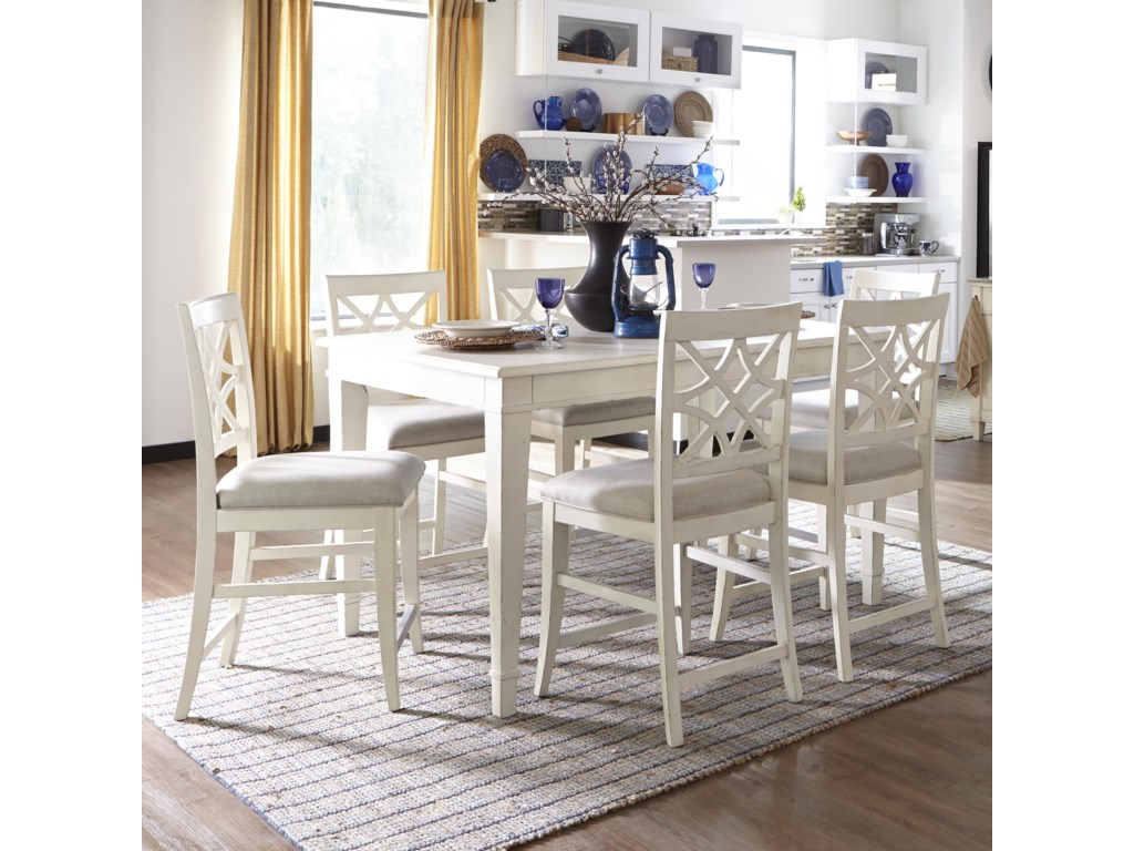 Trisha Yearwood Home Collection By Klaussner 7 Piece Counter Height Table And Chairs Set