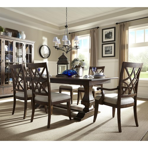 Trisha Yearwood Home Trisha Yearwood Home Trestle Table with Arm and Side Chairs Set
