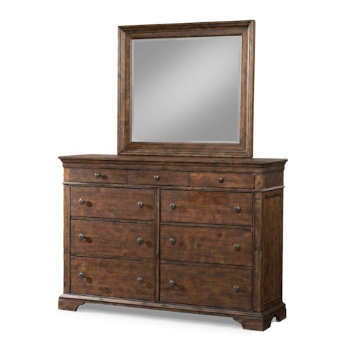 Trisha Yearwood Home Trisha Yearwood Home 9 Drawer Dresser and Mirror Set with Crown Molding