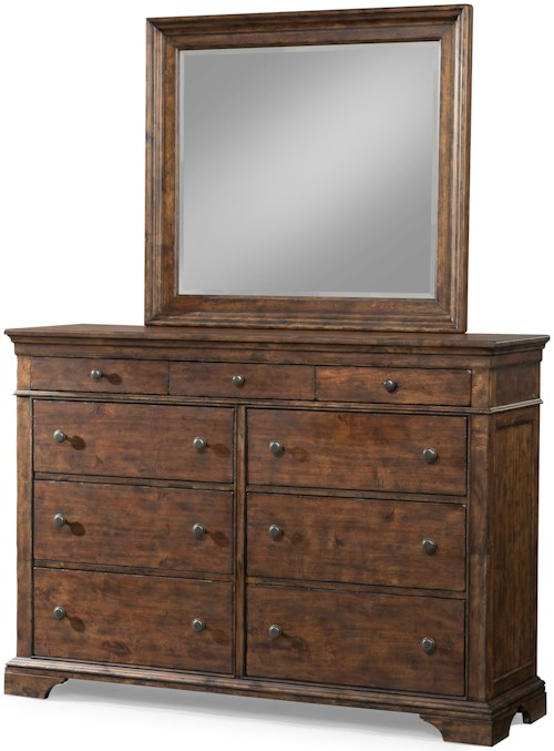 Trisha Yearwood Home Collection by Klaussner Trisha Yearwood Home 9 Drawer Dresser and Mirror Set with Crown Molding