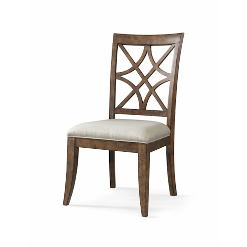 Trisha Yearwood Home Trisha Yearwood Home Nashville Side Chair with Lattice Back and Upholstered Seat