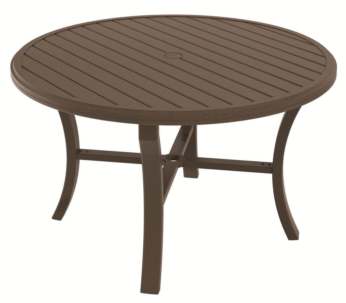 Outdoor Tables 401148U Outdoor Aluminum Table With Round Slatted Top By  Tropitone